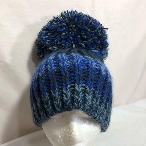 OS Blue BCBGmaxazria Oversized Pom Pom Knit Beanie